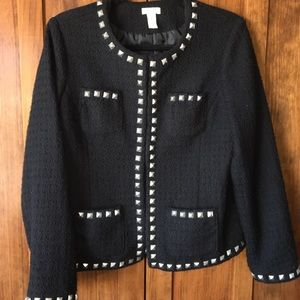 Chico's 1 s tweed black studded blazer coat jacket